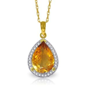 GOLD NECKLACE WITH NATURAL DIAMONDS & CITRINE
